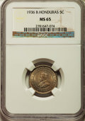 British Honduras:British Colony, British Honduras: British Colony. George V 5 Cents 1936 MS65 NGC,...