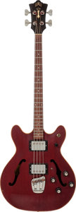 Musical Instruments:Bass Guitars, 1975 Guild Starfire II Cherry Electric Bass Guitar, Serial # 127582....