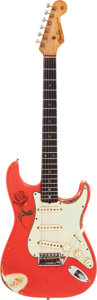 Musical Instruments:Electric Guitars, 1963 Fender Stratocaster Fiesta Red Solid Body Electric Guitar,Serial # L71902, Weight: 7.6 lbs....