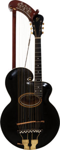 Musical Instruments:Acoustic Guitars, Early 1920's Gibson Style U Harp Black Archtop Acoustic Guitar....