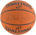 Basketball Collectibles:Balls, Kareem Abdul Jabbar Signed Game Issued Los Angeles LakersBasketball....