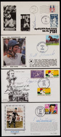 Baseball Collectibles:Others, Sports Greats Signed First Day Covers Lot of 4....