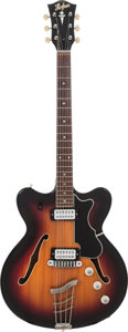 Musical Instruments:Electric Guitars, 1960's Hofner Verythin Sunburst Semi-Hollow Body Electric Guitar,Serial # 33121, Weight: 5.4 lbs....