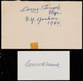 Baseball Collectibles:Others, Casey Stengel and Connie Mack Signed Signatures (2)....