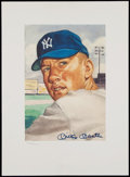 """Baseball Collectibles:Uniforms, 1953 Topps Mickey Mantle Signed """"Marriott"""" Print - Limited to Only 2000. ..."""
