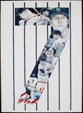 Baseball Collectibles:Photos, Mickey Mantle Original Artwork by Artist Kirk Timmons....