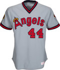 Baseball Collectibles:Uniforms, 1985 Reggie Jackson Game Worn & Signed California Angels Jersey, MEARS 10....