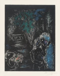 Fine Art - Work on Paper:Print, Marc Chagall (French/Russian, 1887-1985). L'arbre vert auxAmoureux, 1980. Lithograph in colors. 19-1/2 x 15 inches(49....