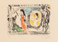 Fine Art - Work on Paper:Print, Marc Chagall (French/Russian, 1887-1985). Femme avecParapluie, from Derrière le miroir, 1964. Lithograph incolors ...
