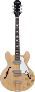 Musical Instruments:Electric Guitars, 2000 Epiphone Casino Elitist Natural Semi-Hollow Body Electric Guitar, Serial # T150288, Weight: 6.9 lbs....