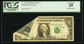Error Notes:Foldovers, Fr. 1915-H $1 1988A Federal Reserve Note. PCGS Very Fine 20.. ...