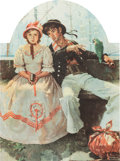 Prints, Norman Rockwell (American, 1894-1978). Yarn Spinner. Lithograph in colors. 25 x 19 inches (63.5 x 48.3 cm) (image). AP. ...
