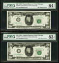 Error Notes:Ink Smears, Fr. 2067-G $20 1969 Federal Reserve Note Consecutive Pair. PMG Graded.. ... (Total: 2 notes)