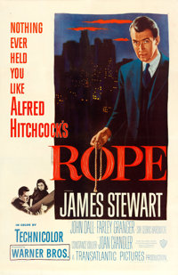 "Rope (Warner Brothers, 1948). One Sheet (27"" X 41""). Hitchcock"