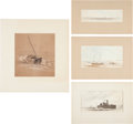 Art:Illustration Art - Mainstream, [Harper's Weekly] Original Civil War Sketches: NauticalSubjects.... (Total: 4 Items)