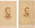 Photography:CDVs, Abraham Lincoln: Pair of Cartes-de-Visite.... (Total: 2 Items)