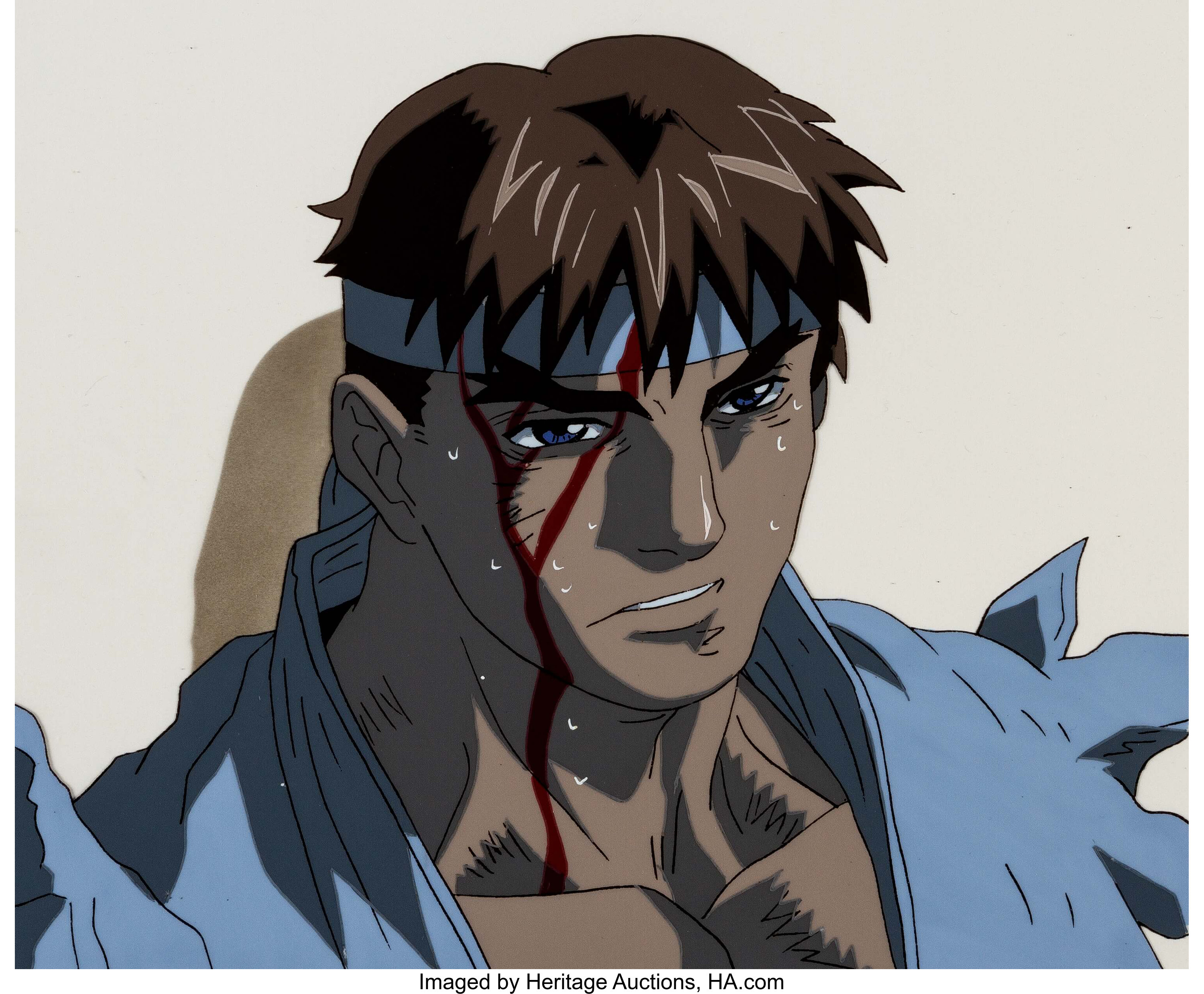 Street Fighter Zero Ryu Anime Production Cels And Matching Lot