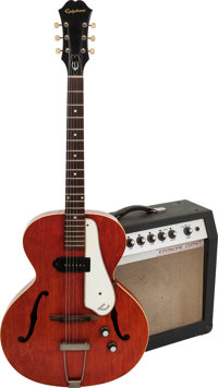 1965 Epiphone Century Cherry Hollow Body Electric Guitar and Comet Guitar Amplifier, Serial # 225239, Guitar Weight: 5.2...