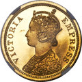 India:British India, India: British India. Victoria gold Proof 5 Rupees 1879-(c) PR66★ Cameo NGC,...