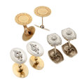 Estate Jewelry:Cufflinks, Art Deco Diamond, Gold Cuff Links. ... (Total: 6 Items)