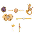 Estate Jewelry:Brooches - Pins, Multi-Stone, Diamond, Gold Brooches. ... (Total: 7 Items)