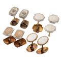 Estate Jewelry:Cufflinks, Art Deco Diamond, Glass, Platinum-Topped Gold Cuff Links. ... (Total: 8 Items)