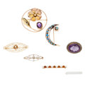 Estate Jewelry:Brooches - Pins, Multi-Stone, Diamond, Freshwater Cultured Pearl, Seed Pearl, Enamel, Gold Brooches. ... (Total: 7 Items)