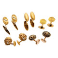 Estate Jewelry:Cufflinks, Diamond, Gold, Yellow Metal Cuff Links. ... (Total: 8 Items)