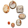 Estate Jewelry:Cameos, Shell Cameo, Coral Cameo, Seed Pearl, Gold, Silver, Base Metal Jewelry. ... (Total: 7 Items)