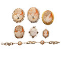 Estate Jewelry:Cameos, Shell Cameo, Diamond, Gold, Gold-Filled, Base Metal Jewelry. ...(Total: 7 Items)
