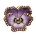 Estate Jewelry:Brooches - Pins, Antique Diamond, Seed Pearl, Enamel, Gold Pendant-Enhancer-Brooch. ...