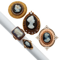 Victorian Hardstone Cameo, Diamond, Seed Pearl, Gold, Gold-Plated Jewelry