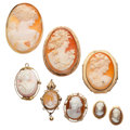 Estate Jewelry:Cameos, Shell Cameo, Diamond, Gold Jewelry. ... (Total: 8 Items)
