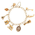 Estate Jewelry:Bracelets, Shell, Enamel, Gold Charm Bracelet. . ...