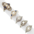 Estate Jewelry:Rings, Art Deco Diamond, Synthetic Sapphire, White Gold Rings. ... (Total:5 Items)