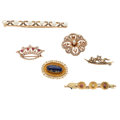 Estate Jewelry:Brooches - Pins, Victorian Multi-Stone, Freshwater Pearl, Seed Pearl, Diamond, Glass, Gold Brooches. ... (Total: 6 Items)