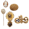 Estate Jewelry:Lots, Victorian Shell Cameo, Seed Pearl, Half-Pearl, Enamel, Gold Jewelry. . ... (Total: 6 Items)