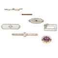 Estate Jewelry:Brooches - Pins, Art Deco Diamond, Multi-Stone, Seed Pearl, Gold, Platinum-ToppedGold Brooches. . ... (Total: 7 Items)