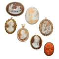 Estate Jewelry:Cameos, Shell Cameo, Coral Cameo, Seed Pearl, Gold Jewelry. ... (Total: 7Items)