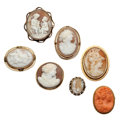 Estate Jewelry:Cameos, Shell Cameo, Coral Cameo, Gold, Base Metal Jewelry. ... (Total: 7 Items)