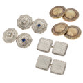 Estate Jewelry:Cufflinks, Art Deco Diamond, Sapphire, Gold Cuff Links. ... (Total: 3 Items)