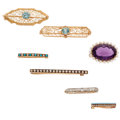 Estate Jewelry:Brooches - Pins, Art Deco Multi-Stone, Diamond, Seed Pearl, Enamel, Platinum, GoldBrooches. . ... (Total: 7 Items)