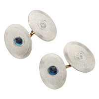 Art Deco Diamond, Sapphire, Platinum-Topped Gold Cuff Links