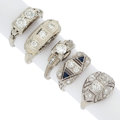 Estate Jewelry:Rings, Art Deco Diamond, Synthetic Sapphire, White Gold Rings. ... (Total: 5 Items)