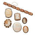 Estate Jewelry:Cameos, Shell Cameo, Gold, Silver, Base Metal Jewelry . . ... (Total: 7Items)