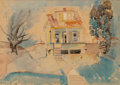 Works on Paper, William Sommer (American, 1867-1949). House Between Trees, 1934. Watercolor on paper. 11 x 15 inches (27.9 x 38.1 cm) (s...