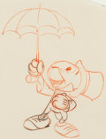 Animation Art:Production Drawing, Pinocchio Jiminy Cricket Animation D...
