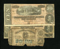 Confederate Notes:1864 Issues, T68 $10 1864. Three Examples. Fine. Montgomery, AL- State of Alabama 50¢ January 1, 1863 About Good.. One of the Con... (Total: 4 notes)