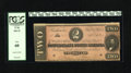 Confederate Notes:1864 Issues, T70 $2 1864. This is a red tint $2 with a large top margin. PCGS New 60....