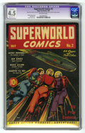 Golden Age (1938-1955):Science Fiction, Superworld Comics #2 (Hugo Gernsback, 1940) CGC Apparent VG+ 4.5Moderate (P) Off-white pages. Overstreet has deemed this co...